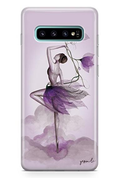 Lopard Samsung Galaxy S10 Kılıf Çiçekle Dans Kapak Renkli